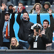 NEW YORK, NEW YORK - April 12:  New York City Fc fans celebrate a goal during the New York City FC Vs San Jose Earthquakes regular season MLS game at Yankee Stadium on April 1, 2017 in New York City. (Photo by Tim Clayton/Corbis via Getty Images)