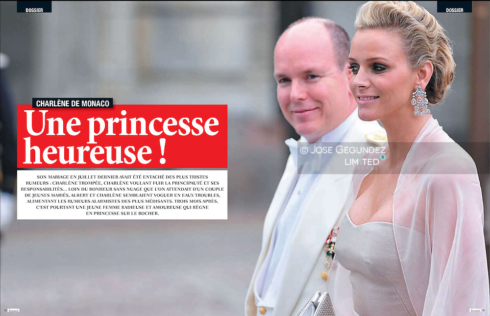 Royaute Magazine. October 2011. <br /> Prince Albert of Monaco and girlfriend Charlene Wittstock attend the wedding of Crown Princess Victoria of Sweden and Daniel Westling on June 19, 2010 in Stockholm, Sweden