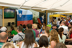 Slovenian supporters in Ljubljana during the 2010 FIFA World Cup South Africa Group C Third Round match between Slovenia and England on June 23, 2010, in Ljubljana, Slovenia. (Photo by Matic Klansek Velej / Sportida) / SPORTIDA PHOTO AGENCY