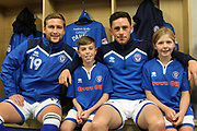 Rochdale mascots meet Ian Henderson and Steven Davies pre-match during the EFL Sky Bet League 1 match between Rochdale and Gillingham at Spotland, Rochdale, England on 23 September 2017. Photo by Daniel Youngs.