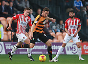 Barnet player Tom Champion gets the better of Exeter City midfielder David Wheeler during the Sky Bet League 2 match between Barnet and Exeter City at The Hive Stadium, London, England on 31 October 2015. Photo by Bennett Dean.