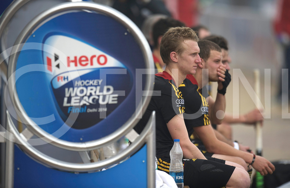 NEW DELHI - Hock World League  Final Men<br /> ENG v BEL (QF1) 1-0<br /> England will play in the half final<br /> foto: Belgium players sad on the bench.<br /> FFU PRESS AGENCY COPYRIGHT FRANK UIJLENBROEK