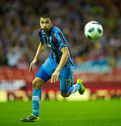 LIVERPOOL, ENGLAND - Thursday, August 19, 2010: Trabzonspor's Burak Yilmaz in action against Liverpool during the UEFA Europa League Play-Off 1st Leg match at Anfield. (Pic by: David Rawcliffe/Propaganda)