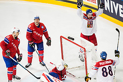 Mats Rosseli Olsen of Norway and Mattias Norstebo of Norway look dejected as Jan Kovar of Czech Republic and David Pastrnak of Czech Republic celebrate after scoring first goal in overtime and won during the 2017 IIHF Men's World Championship group B Ice hockey match between National Teams of Czech Republic and Norway, on May 11, 2017 in AccorHotels Arena in Paris, France. Photo by Vid Ponikvar / Sportida