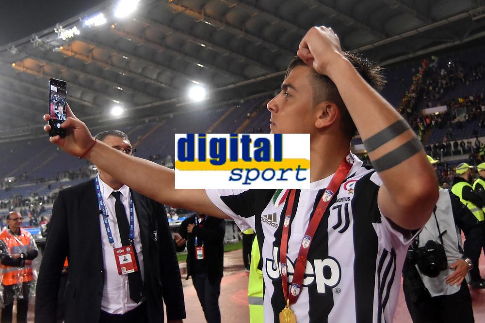 Esultanza Paulo Dybala Selfie celebration <br /> Roma 09-05-2018  Stadio Olimpico  <br /> Football Calcio Finale Coppa Italia / Italy's Cup Final 2017/2018 Juventus - Milan<br /> Foto Andrea Staccioli / Insidefoto