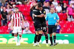 Josh Brownhill and Ashley Williams celebrate after Bristol City win 1-2 - Rogan/JMP - 14/09/2019 - Bet365 Stadium - Stoke, England - Stoke City v Bristol City - Sky Bet Championship.