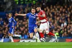 Gary Cahill of Chelsea tackles Alvaro Negredo of Middlesbrough - Mandatory by-line: Jason Brown/JMP - 08/05/17 - FOOTBALL - Stamford Bridge - London, England - Chelsea v Middlesbrough - Premier League