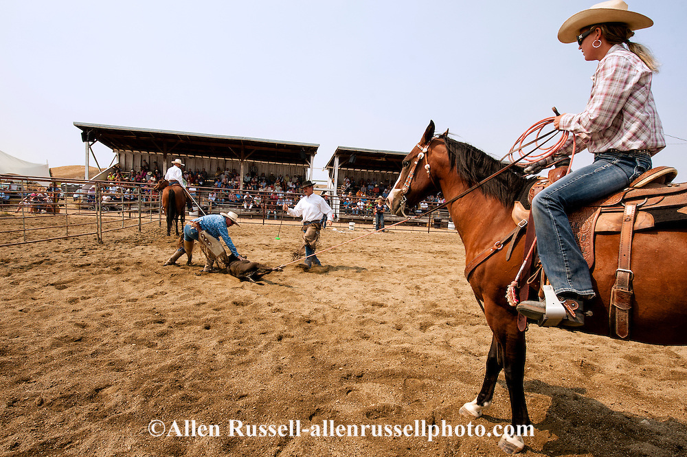 Wilsall Ranch Rodeo, Calf Branding Competition, Milee Malone, Ryan Malone, Justin O'Hair, Tim McGrady, Knock'em Flat Cattle Co team, Montana