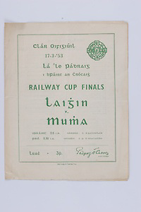 Interprovincial Railway Cup Football Cup Final,  17.03.1953, 03.17.1953, 17th March 1953, referee S P O Ceallacain, Leinster 2-09, Munster 0-06,.Interprovincial Railway Cup Hurling Cup Final,  17.03.1953, 03.17.1953, 17th March 1953, referee S O Fallcobair, Leinster 5-05, Munster 5-07,