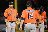 PHOENIX, AZ - AUGUST 15:  Brad Peacock #41 of the Houston Astros reacts as manager A.J. Hinch #14 makes his way to the mound to relieve him in the fifth inning against the Arizona Diamondbacks at Chase Field on August 15, 2017 in Phoenix, Arizona.  (Photo by Jennifer Stewart/Getty Images)