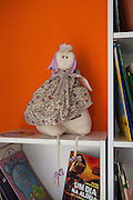 A doll on one of the bookshelves in the community library, Biblioteca Comunitaria do Arquipelago, Porte Alegre, Brazil. <br /> <br /> Cirandar is working in partnership with  C&A and C&A Instituto to implement a network of Community Libraries in eight communities of Porto Alegre.