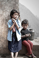 A young brother and sister in a Chepang village, Nepal