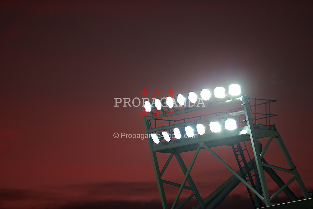 ST HELENS, ENGLAND - Monday, September 28, 2015: Red sky sunset behind floodlights during the Under 21 FA Premier League match at Langtree Park. (Pic by David Rawcliffe/Propaganda)