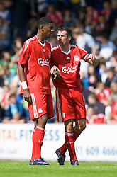 BIRKENHEAD, ENGLAND - Saturday, July 12, 2008: Liverpool's Jamie Carragher and Damien Plessis during their first pre-season match of the 2008/2009 season against Tranmere Rovers at Prenton Park. (Photo by David Rawcliffe/Propaganda)
