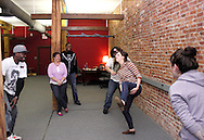 (from left) Nate Washington of Dayton, Molly Guyer-Reed of Oakwood, CJ Jones of Riverside, Aaron Phillips of Dayton, Kathy Roll of Dayton and Erin Welsh of Dayton during a Lofty Aspirations improv class at The Livery in the Oregon Arts District in Dayton, Wednesday, February 15, 2012.