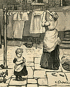 Woman in a paved courtyard pegging washing on a clothes line.Engraving, 1878