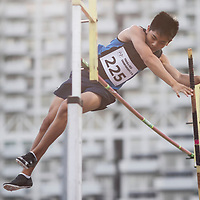 Irvin Goh of Ngee Ann Polytechnic in action during the men's pole vault event. (Photo &copy; Lim Yong Teck/Red Sports) The 2018 Institute-Varsity-Polytechnic Track and Field Championships were held over three days in January.<br />
