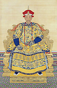 Portrait of the Kangxi Emperor in Court Dress, by anonymous court artists. Late Kangxi period. Hanging scroll, colour on silk. The Palace Museum, Beijing