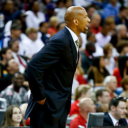 Oct 23, 2013; New Orleans, LA, USA; New Orleans Pelicans head coach Monty Williams against the Miami Heat during the first half of a preseason game at New Orleans Arena.  The Heat defeated the Pelicans 108-95. Mandatory Credit: Derick E. Hingle-USA TODAY Sports