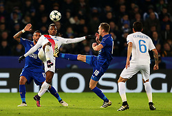Jose Izquierdo of Club Brugge challenges Andy King of Leicester City  - Mandatory by-line: Matt McNulty/JMP - 22/11/2016 - FOOTBALL - King Power Stadium - Leicester, England - Leicester City v Club Brugge - UEFA Champions League