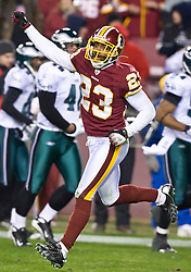 Washington Redskins safety Reed Doughty (23) celebrates after breaking up a Phildadelphia play.  The Washington Redskins defeated the Philadelphia Eagles 10-3 in an NFL football game held at Fedex Field in Landover, Maryland on Sunday, December 21, 2008.