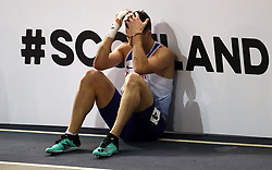 Great Britain's Guy Learmonth after chasing out of the men's 800m semi final during day two of the European Indoor Athletics Championships at the Emirates Arena, Glasgow.