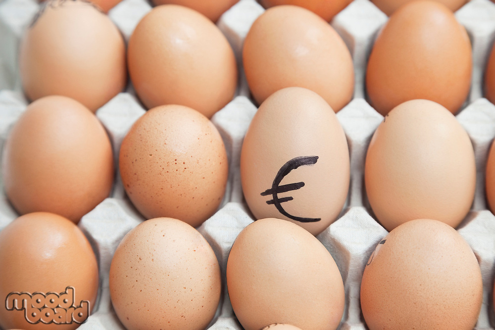 Euro sign on egg surrounded by plain brown eggs in carton