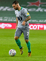 Football - 2019 / 2020 Championship - Cardiff City vs Blackburn Rovers<br /> <br /> Adam Armstrong Blackburn Rovers on the attack<br /> in a match played with no crowd due to Covid 19 coronavirus emergency regulations, at the almost empty Liberty Stadium.<br /> <br /> COLORSPORT/WINSTON BYNORTH