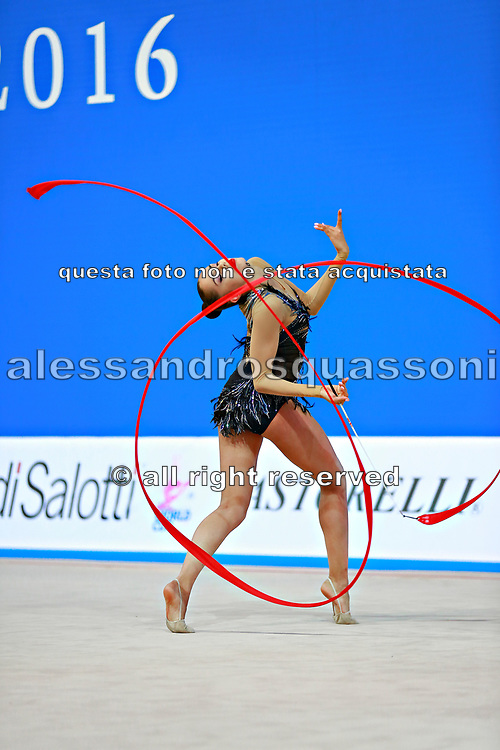 Margarita Mamun of Russia competes during the rhythmic gymnastics individual ribbon final of the World Cup at Adriatic Arena on April 3, 2016 in Pesaro, Italy. Margarita was born 1 November 1995 in Moscow, Russia, she is a retired Russian individual rhythmic gymnast.<br />