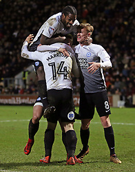 Jack Marriott of Peterborough United is mobbed by team-mates Anthony Grant and Chris Forrester after scoring his second goal of the game - Mandatory by-line: Joe Dent/JMP - 26/12/2017 - FOOTBALL - Northern Commercials Stadium - Bradford, England - Bradford City v Peterborough United - Sky Bet League One