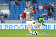 Manchester United Defender Luke Shaw in warm up during the Premier League match between Brighton and Hove Albion and Manchester United at the American Express Community Stadium, Brighton and Hove, England on 4 May 2018. Picture by Phil Duncan.