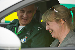 Pictured: Ian Stark and Shona Robison<br /> <br /> Health Secretary Shona Robison met paramedics today on a visit to Scottish Ambulance Service's city station where she announced new funding for the service<br /> Ger Harley | EEm 24 April 2017