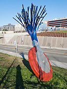 """Typewriter Eraser, Scale X"" (1998-1999) by Claes Oldenburg and Coosje van Bruggen, is built of Stainless steel and fiberglass. Seattle Art Museum's Olympic Sculpture Park opened in 2007 at the southern end of Myrtle Edwards Park. Free entry. Address: 2901 Western Avenue, Seattle, Washington 98121, USA"