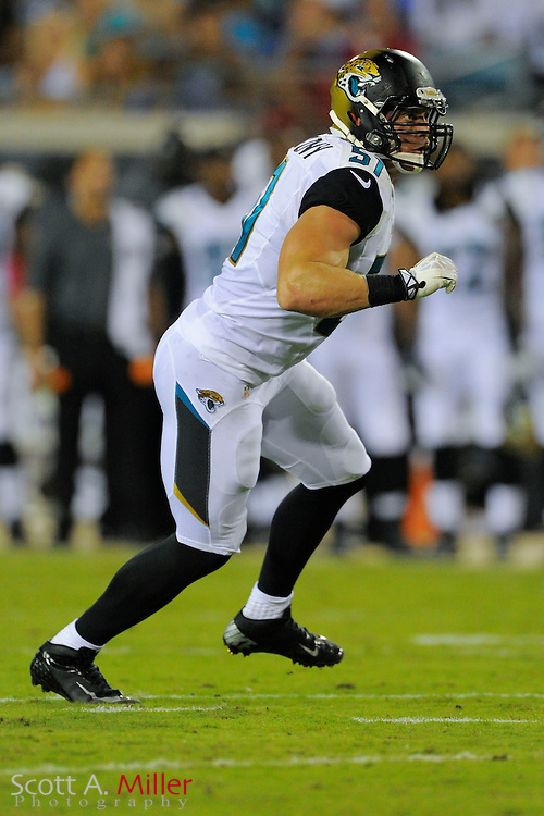 Jacksonville Jaguars middle linebacker Paul Posluszny (51) during a preseason NFL game against the Philadelphia Eagles at EverBank Field on Aug. 24, 2013 in Jacksonville, Florida. The Eagles won 31-24.<br /> <br /> &copy;2013 Scott A. Miller