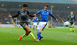 Daniel Leadbitter of Bristol Rovers crosses the ball past Joe Bunney of Rochdale - Mandatory by-line: Robbie Stephenson/JMP - 21/10/2017 - FOOTBALL - Crown Oil Arena - Rochdale, England - Rochdale v Bristol Rovers - Sky Bet League One