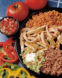 Cuisine fajitas refried beans red green yellow peppers tomato tomatoes salsa rice chicken strips Bon Appetit concept conceptual metaphor lifestyle travel Dine Entertaining Entice Enticing Fed Feed Feeding Flavor Flavorful Foodshot Fragrant Haute Gourmet Gourmand Good Gratify Gratifying Grocery Healthfood Hospitable Hospitality Ingredient Lunch Market Munchy Marketplace Natural Organic Portion Pretty Produce Refresh Refreshing Satisfying Satisfaction Seasonal Serve Serving Smell Still life