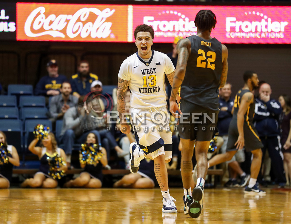 Dec 20, 2017; Morgantown, WV, USA; West Virginia Mountaineers forward Teddy Allen (13) celebrates a made basket during the first quarter against the Coppin State Eagles at WVU Coliseum. Mandatory Credit: Ben Queen-USA TODAY Sports