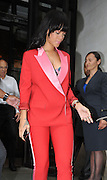27.JUNE.2012. LONDON<br /> <br /> RIHANNA LEAVING HER LONDON HOTEL LOOKING SMART IN RED AND PINK SUIT.<br /> <br /> BYLINE: EDBIMAGEARCHIVE.CO.UK<br /> <br /> *THIS IMAGE IS STRICTLY FOR UK NEWSPAPERS AND MAGAZINES ONLY*<br /> *FOR WORLD WIDE SALES AND WEB USE PLEASE CONTACT EDBIMAGEARCHIVE - 0208 954 5968*