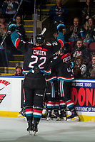 KELOWNA, CANADA - OCTOBER 13:  Braydyn Chizen #22 of the Kelowna Rockets skates to the boards to celebrate a third period goal with teammates against the Tri-City Americans on October 13, 2018 at Prospera Place in Kelowna, British Columbia, Canada.  (Photo by Marissa Baecker/Shoot the Breeze)  *** Local Caption ***