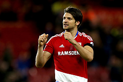George Friend of Middlesbrough celebrates the win over Sunderland - Mandatory by-line: Robbie Stephenson/JMP - 26/04/2017 - FOOTBALL - Riverside Stadium - Middlesbrough, England - Middlesbrough v Sunderland - Premier League