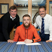 St Johnstone goalkeeper Zander Clark pictured with manager Tommy Wright and Chairman Steve Brown in the boardroom at McDiarmid park after signing a two year contract extension…09.08.19<br />
