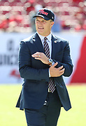 Nov 25, 2018; Tampa, FL, USA; San Francisco 49ers general manager John Lynch walks the field before his team plays an NFL game against the Tampa Bay Buccaneers at Raymond James Stadium. The Buccaneers beat the 49ers 27-9. (Steve Jacobson/Image of Sport)