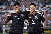 Mexico striker Raul Jiménez (9) and teammate Mexico striker Uriel Antuna (22) after scoring a goal during a game between Mexico and Cuba in a CONCACAF Gold Cup soccer match in Pasadena, Calif., Saturday, June 15, 2019. Mexico defeated Cuba 7-0. (Ed Ruvalcaba/Image of Sport)