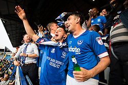 Portsmouth win 6-1 against Cheltenham Town, finishing top of League Two, Portsmouth celebrate. Conor Chaplin of Portsmouth and Gary Roberts of Portsmouth - Mandatory by-line: Jason Brown/JMP - 06/05/2017 - FOOTBALL - Fratton Park - Portsmouth, England - Portsmouth v Cheltenham Town - Sky Bet League Two