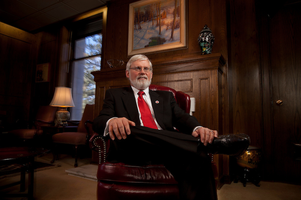 Portraits of David Pershing the new University of Utah President and his wife Sandy taken at his office in the Park Building on the University of Utah Campus in Salt Lake City, Utah,  Feb. 3, 2012. (Photo by August Miller).