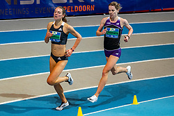 Britt Ummels and Julia van Velthoven (L) in action on 3000 meter during the Dutch Indoor Athletics Championship on February 23, 2020 in Omnisport De Voorwaarts, Apeldoorn