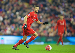 LIVERPOOL, ENGLAND - Wednesday, January 20, 2016: Liverpool's Kevin Stewart in action against Exeter City during the FA Cup 3rd Round Replay match at Anfield. (Pic by David Rawcliffe/Propaganda)