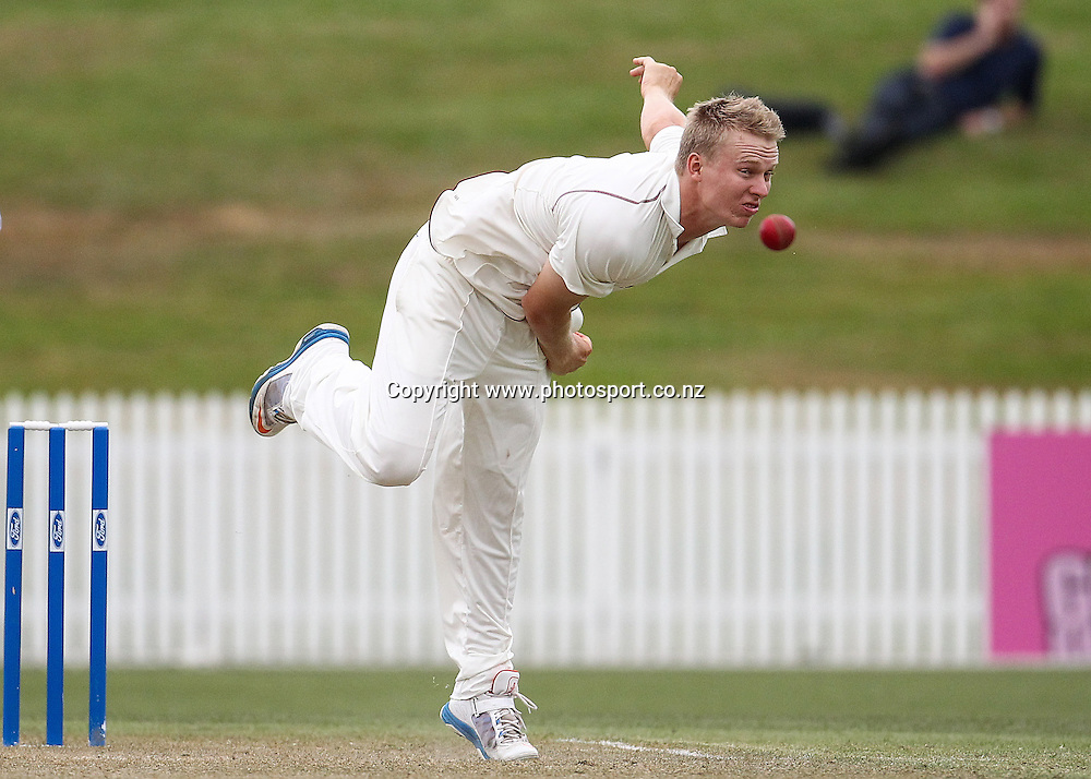 Northern Knight's Scott Kuggeleijn bowling during the Plunket Shield Cricket match, Northern Districts v Central Districts at Seddon Park, Hamilton. Wednesday 27 November 2013. Photo: Bruce Lim / photosport.co.nz
