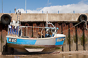 A fishing boat at Whitstable harbour Kent, UK April 11th 2008
