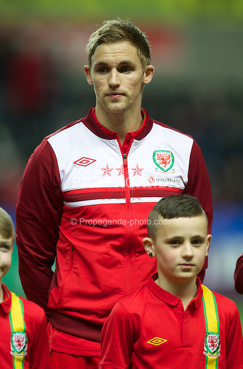 SWANSEA, WALES - Wednesday, February 6, 2013: Wales' Jack Collison lines-up before the International Friendly against Austria at the Liberty Stadium. (Pic by David Rawcliffe/Propaganda)